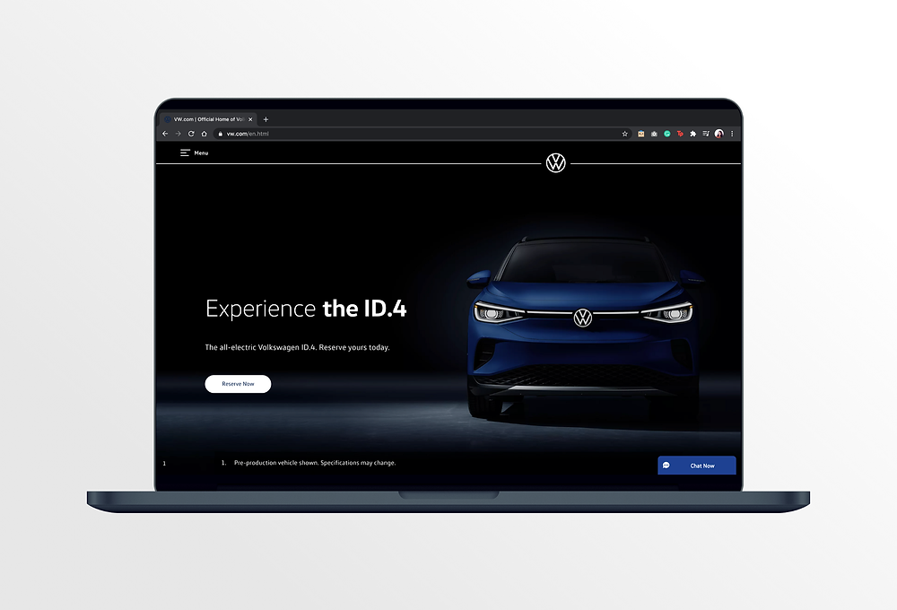Volkswagen website home page when it launched in October 2020