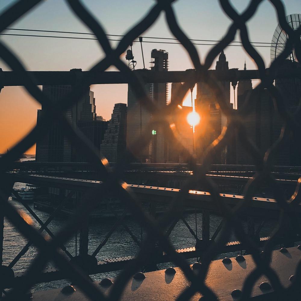 Sunset captured from Brooklyn Bridge, New York City