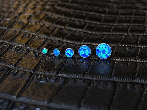 Titanium Cabochon Pacific Blue Opal Threadless End
