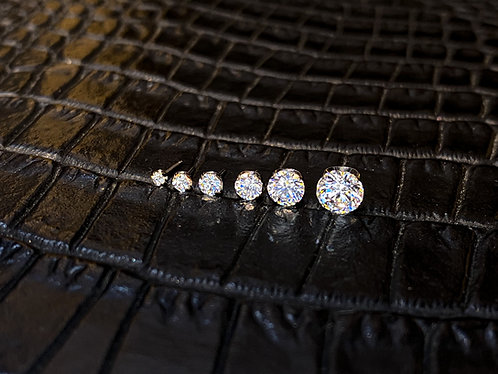 Titanium Prong-Set Faceted Clear Cubic Zirconia Threadless End