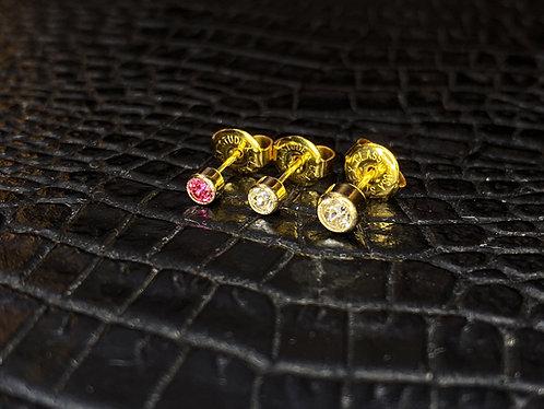 14K Bezel-Set Cubic Zirconia Earring Studs