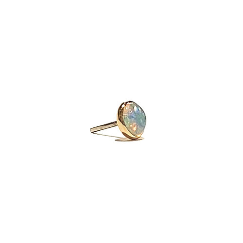 14K Gold Cabochon Threadless Opal/Stone Ends