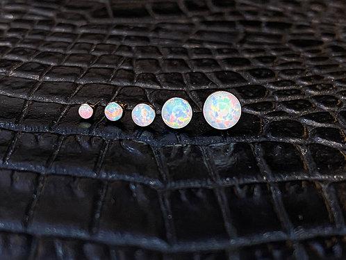Titanium Cabochon White Opal Threadless End