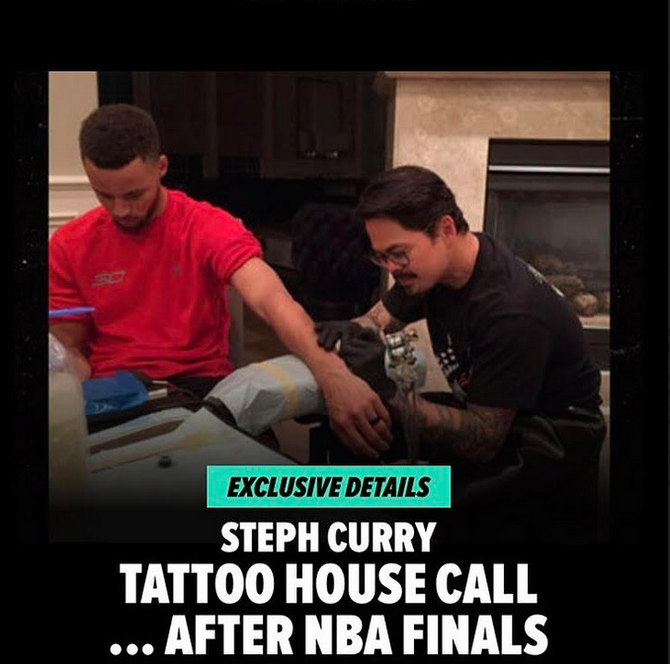Nino Lapid from Zebra Tattoo & Piercing, Tattoos Steph Curry and family!