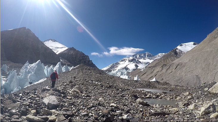 Everest Expedition, Tibet, hiking towards Advanced Base Camp.