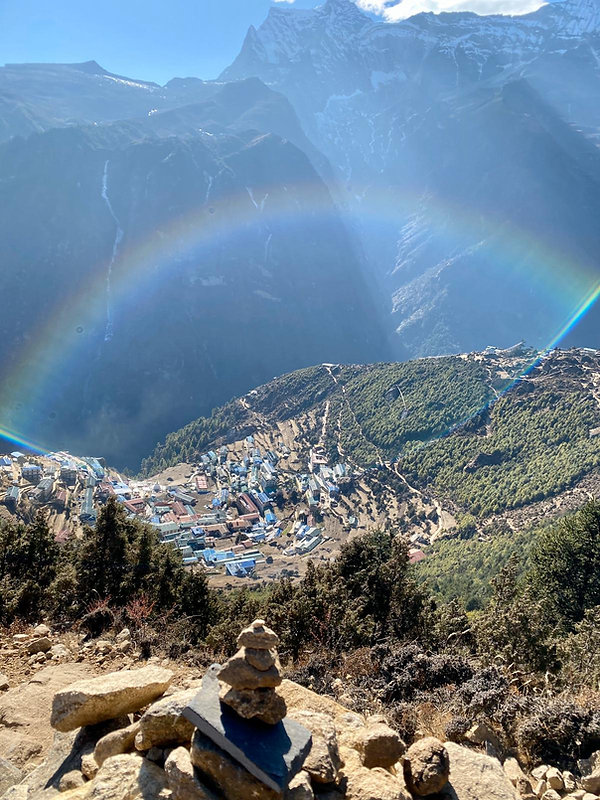 Rainbow over Namche, SKA adventures
