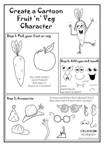 EW Art Illo Fruit Veg Cartoon Worksheet.