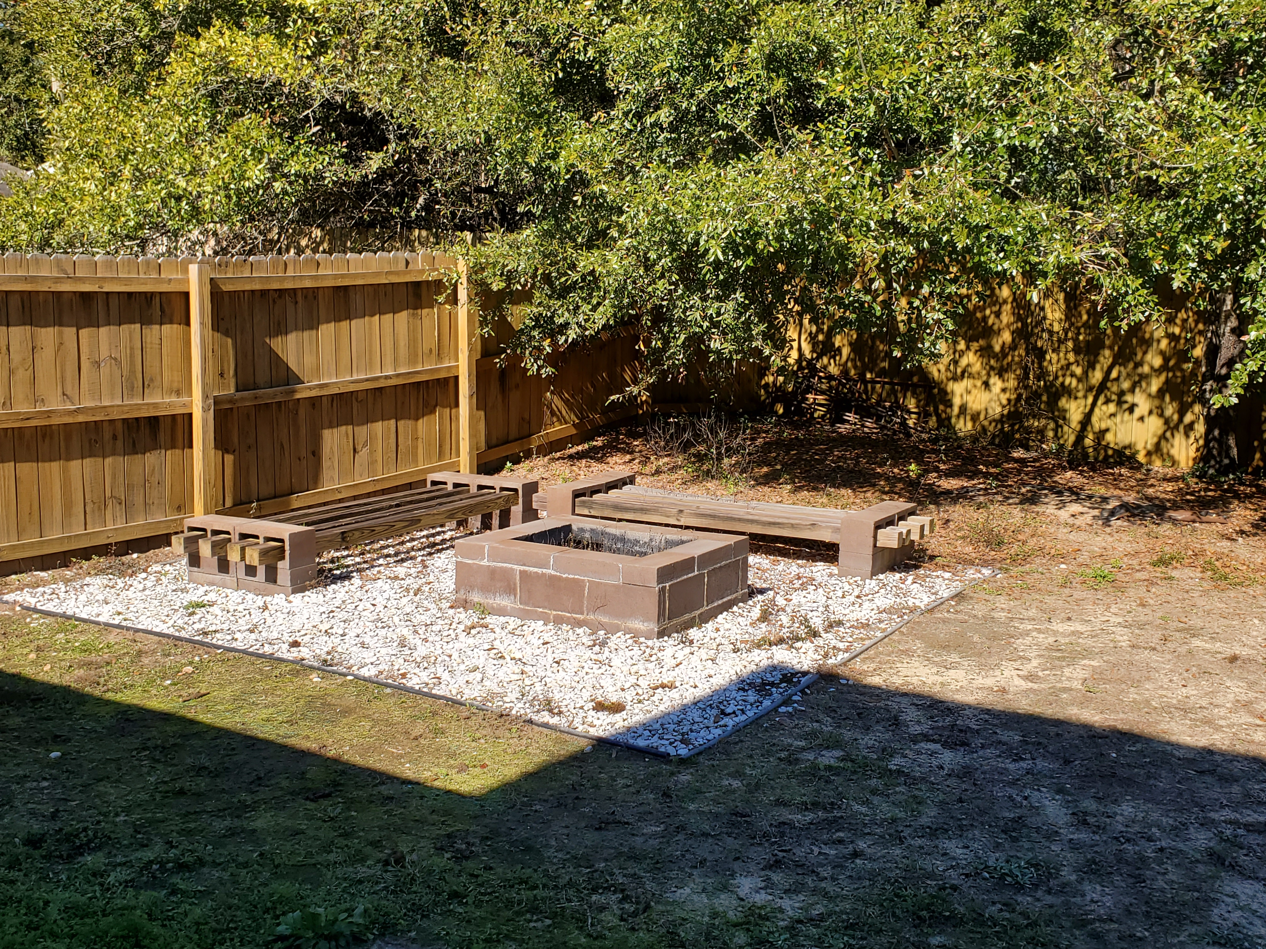 fireplace in backyard