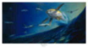 Yellowfi tuna and flying fish painting