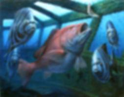 Sow red snapper and spadefish inside sunkenUSS Oriskany memorial reef