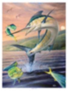 jumping blue marlin tailwalking mahi virgin islands painting