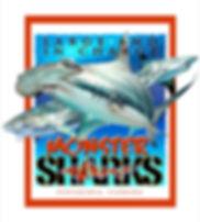 monster sharks art poster