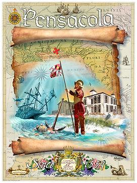 Historic Pensacola DeLuna 1559 art poster