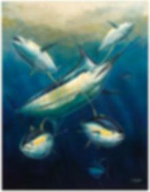 blue marlin yellowfin tuna painting