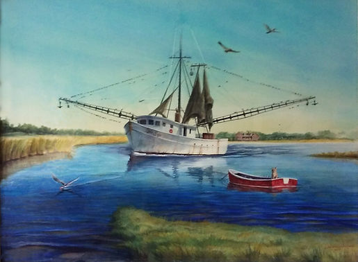 Shrimpboat watercolor