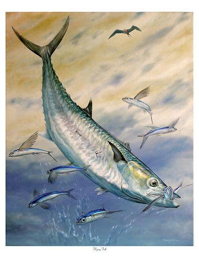 smoker kingfish jumping painting