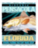 pensacola fishing redfish art poster