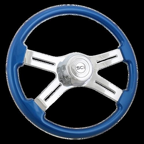 """18"""" Painted Blue Wood Steering Wheel"""