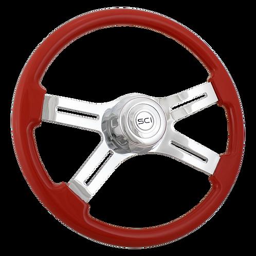 """18"""" Painted Viper Red Wood Steering Wheel"""