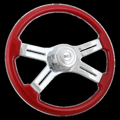 """18"""" Painted Red Wood Steering Wheel"""