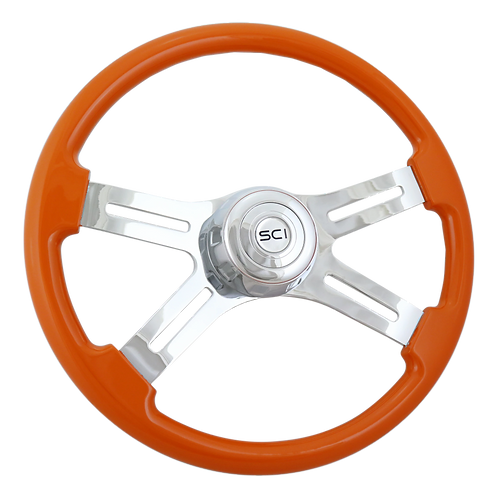 """18"""" Painted Orange Wood Steering Wheel"""