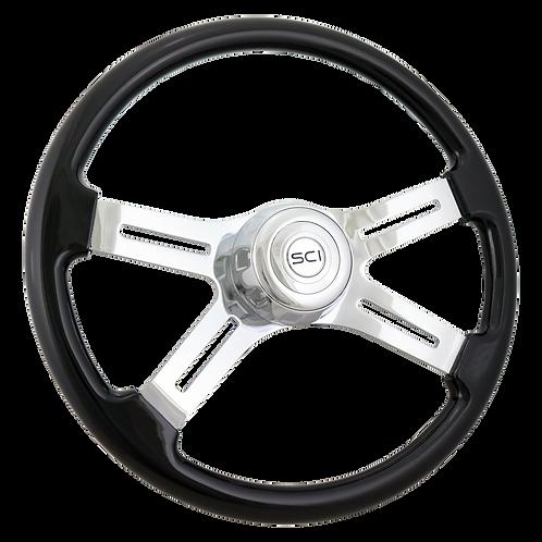 """18"""" Painted Black Wood Steering Wheel"""