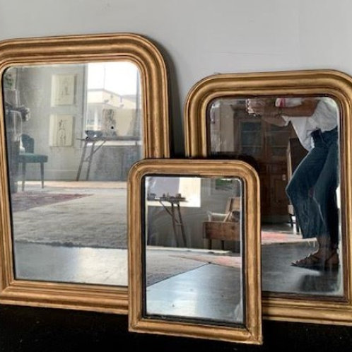 Medium gold gilt Louis Philippe mirror's with original pine backing