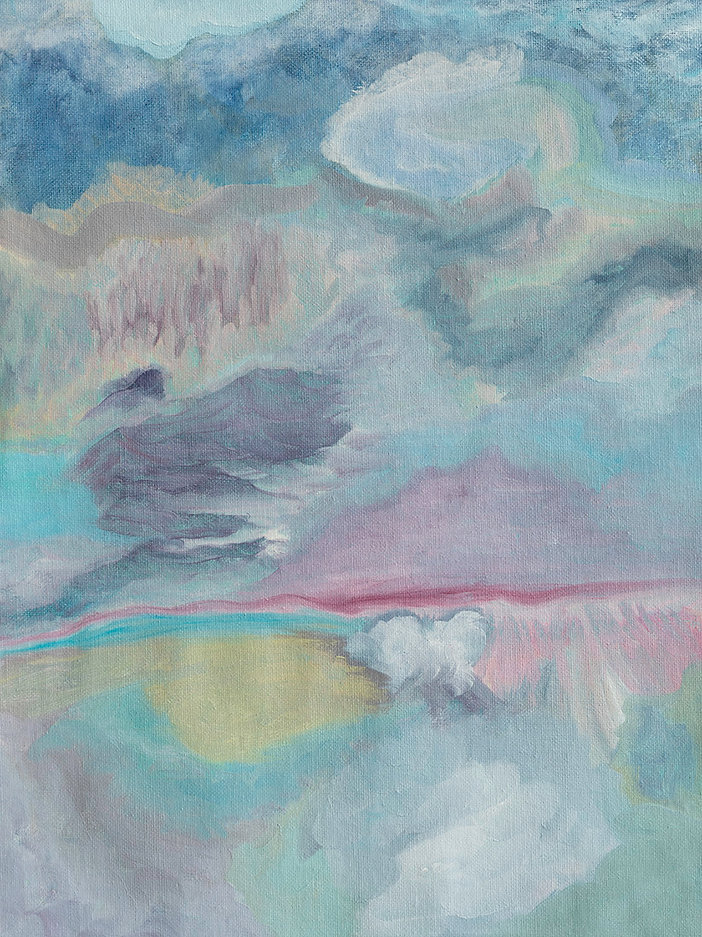 Abstract Pastel Painting, Oil on Canvas,Blue Pink Mixed Media Art, Wainui Beach, New Zealand