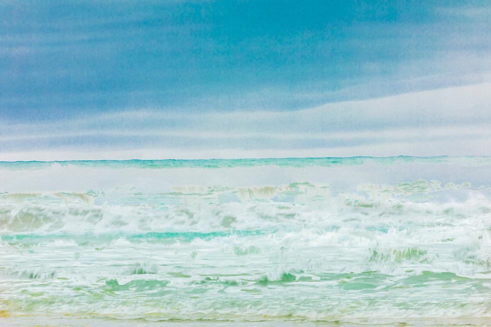 Abstract Ocean Art Wainui Beach Gisborne New Zealand Teal Blue Waves Surf Art