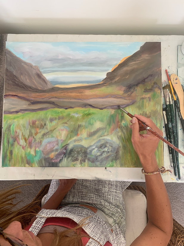 Artist Painting Tongariro Alpine Crossing in New Zealand, Soda Springs Painting, Oil on Canvas Painting New Zealand, Tongariro Alpine Crossing Oil on Canvas, Artist in Studio