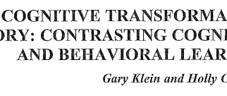 Cognitive Transformation Theory