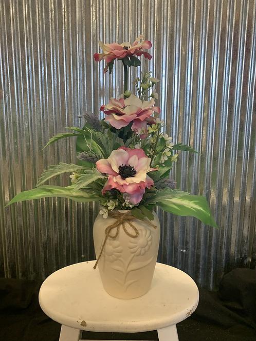 Artificial pink flower pot