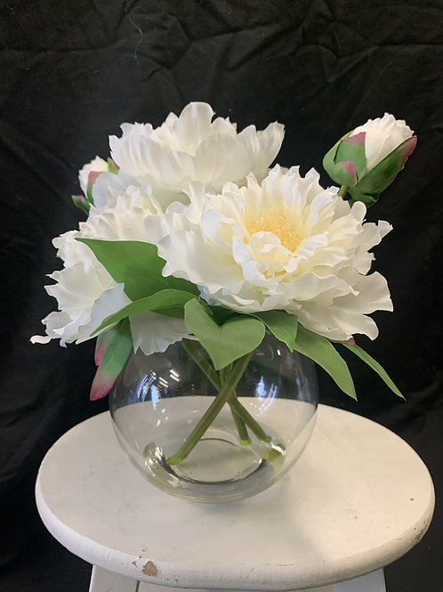 Artificial peony arrangement with resin