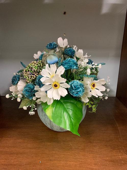Blue artificial arrangement