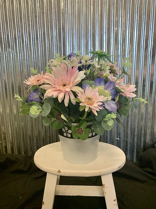 Pastel artificial pot arrangement