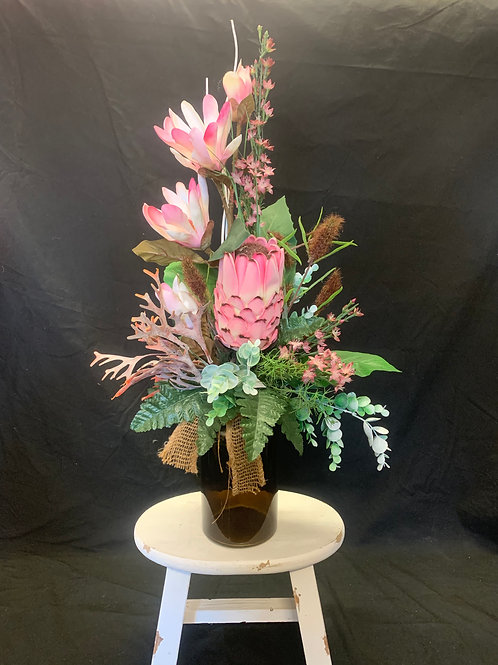 Protea Bottle Arrangement