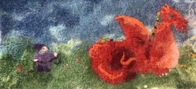 Filzbild Roter Drache