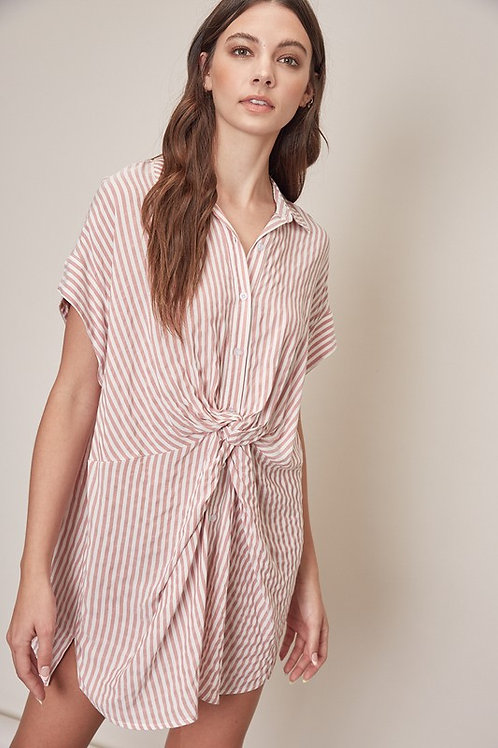 Pink Striped Knot Shirt Dress