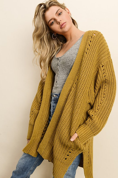 Chartreuse Knit Cardigan