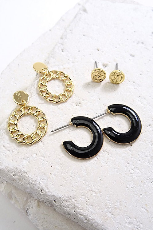 Black & Gold Hoop Earring Pack