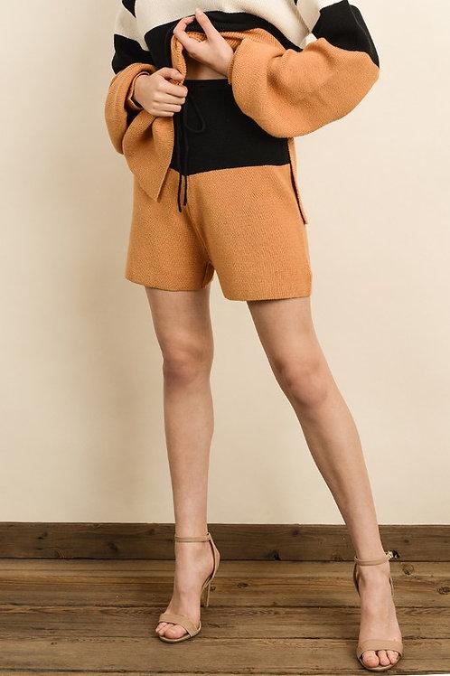 Orange & Black Colorblock Shorts