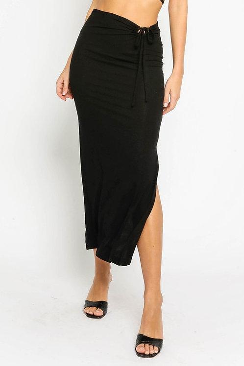Black Fitted Waist Tie Maxi Skirt