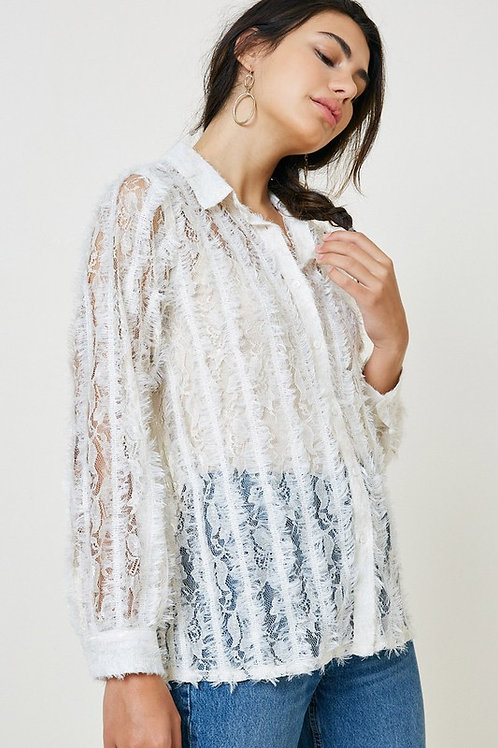 Sheer Fuzzy Lace Button Down Top