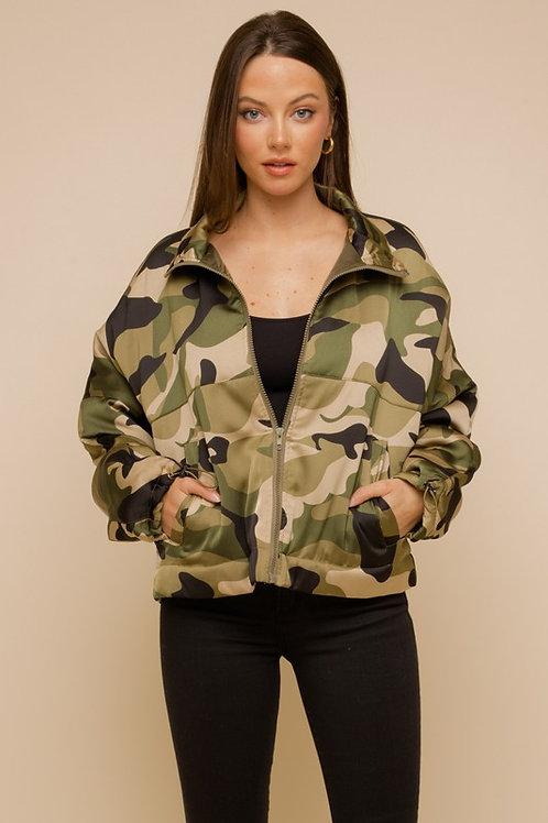 Camo Puff Bomber Jacket
