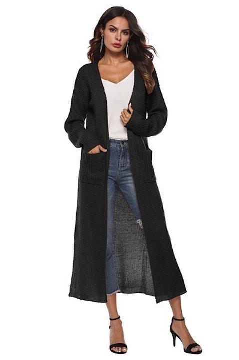 Black Longline Knit Cardigan