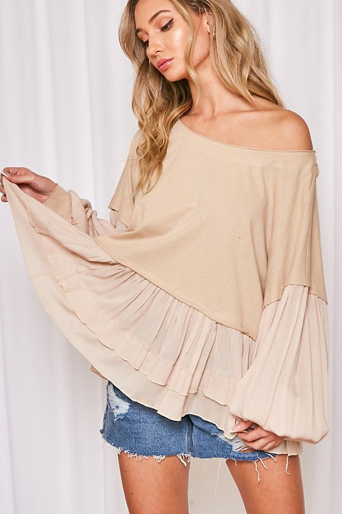Tan Ruffle Gauze Long Sleeve Top