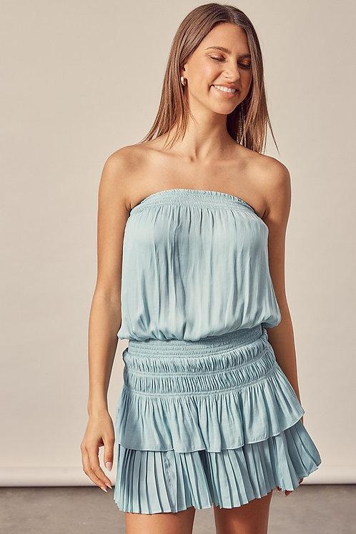 Aqua Blue Tube Top Dress