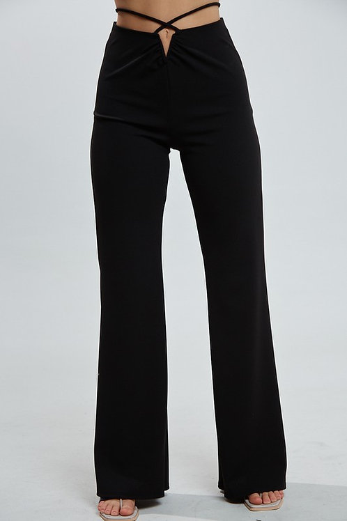 Black Waist Tie Flare Pants