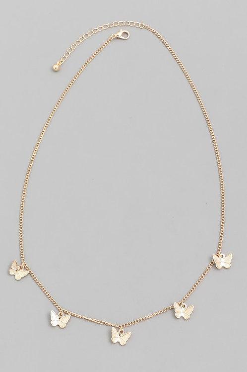 Gold Butterfly Choker Necklace