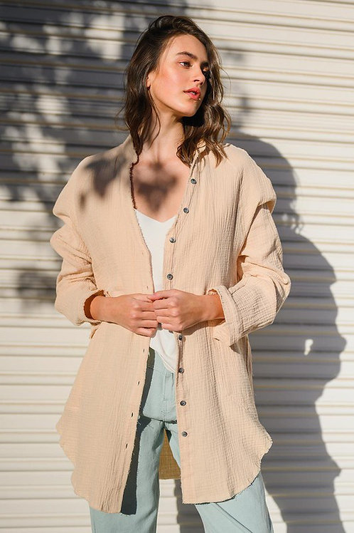Taupe Gauze Button Down